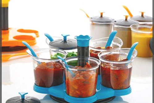 0066 -Achar/Storage Box (5 Jars with lid, 5 Spoons, 1 Tray) Multicolor