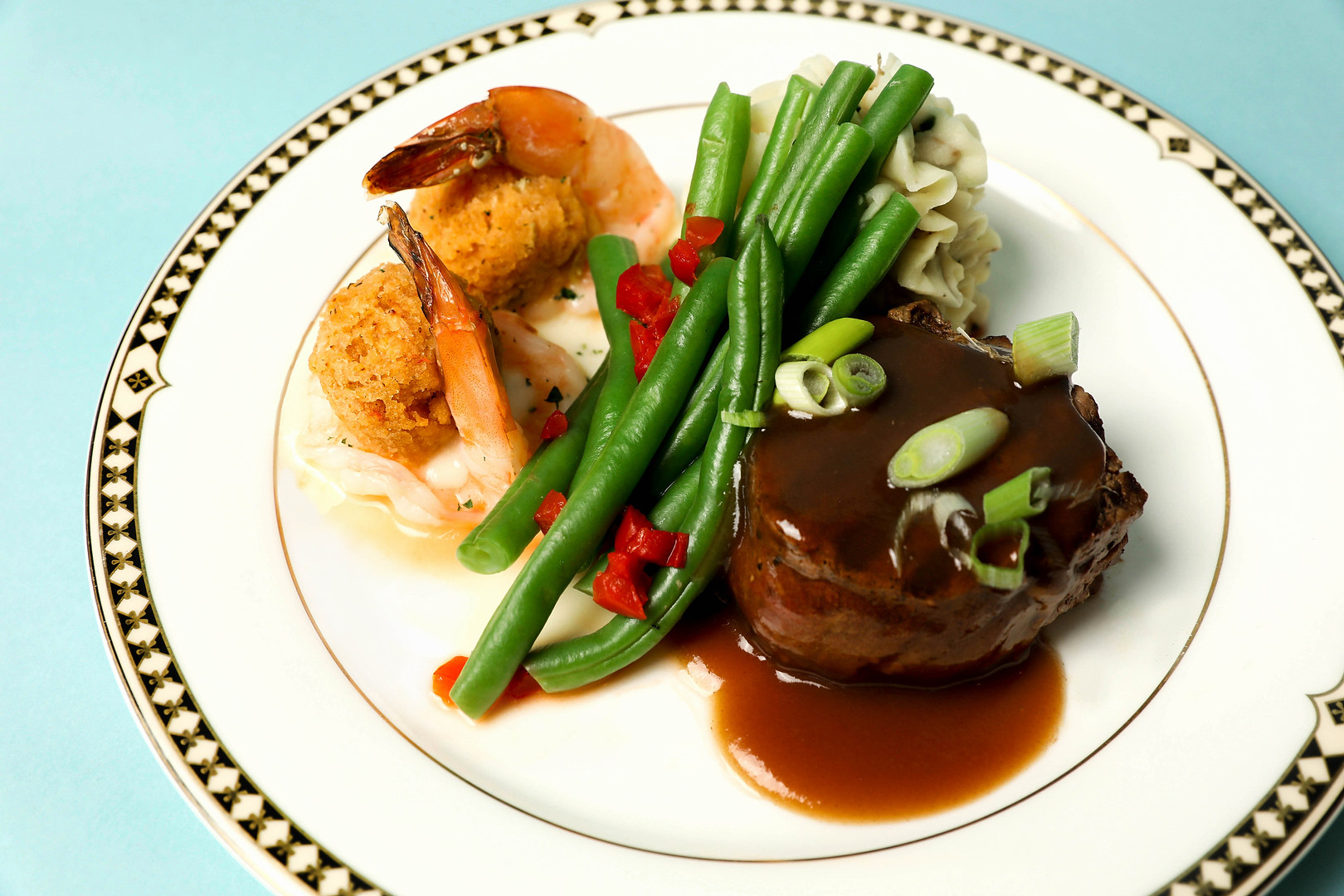 Petite Filet Mignon paired with New England Baked Stuffed Shrimp