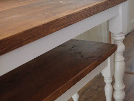 Country Style Farmhouse Table and Shelf