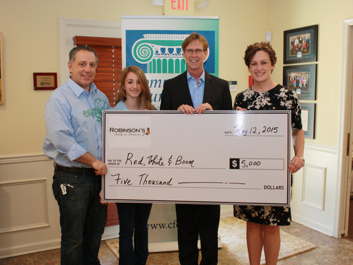 Community Foundation's Red, White & BOOM Fund Receives $5,000 from Robinson's Family of
