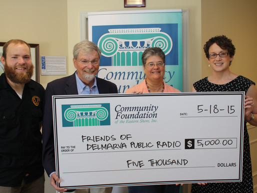 Friends of Delmarva Public Radio Receives $5,000 from Community Foundation