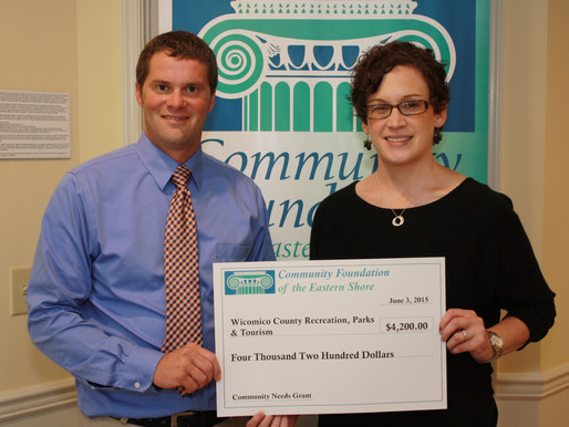 Wicomico County Recreation, Parks and Tourism Receives $4,200.00 from Community Foundation