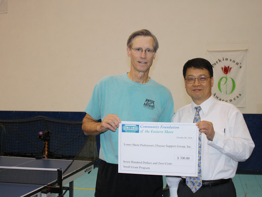 Lower Shore Parkinson's Support Group Receives Grant from Community Foundation to Purchase Thera