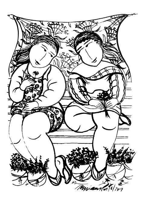 Amigas Floristas P/B - 25 cm x 35 cm