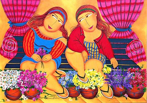 As floristas da feira - 70 cm x 100 cm