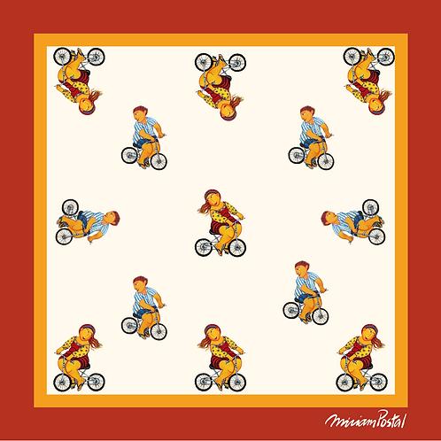 Lenço Estampa Ciclistas Laranja