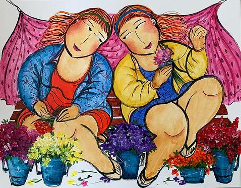 Floristas da Praça - 60 cm x 75 cm