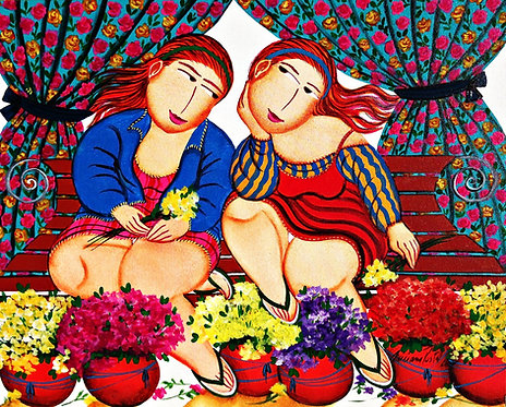 As floristas na  primavera - 40 cm x 50 cm