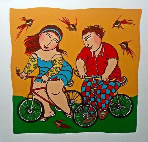 Ciclistas - 40 cm x 40 cm - Serigrafia