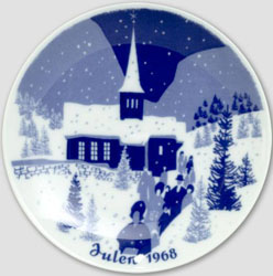 1968 Porsgrund Christmas Plate, Church Goers