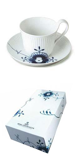 RC Blue Fluted MEGA Cup & Saucer (24 cl) #1017336