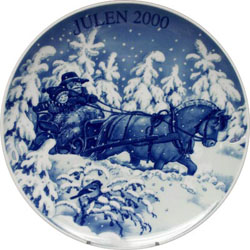 2000 Porsgrund Christmas Plate, Sleigh Ride
