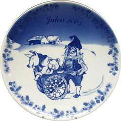 2003 Porsgrund Christmas Plate, Hiding The Pig