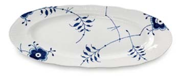 RC Blue Fluted MEGA Fish Dish 23.5 in #1017346