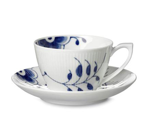 RC Blue Fluted MEGA Tea Cup & Saucer #1017335