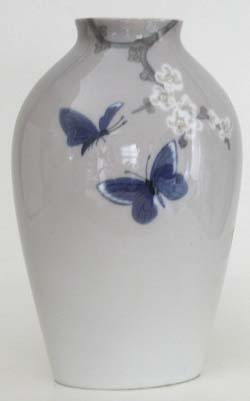 B&G Art Nouveau Style Vase, Butterflies 7 in.