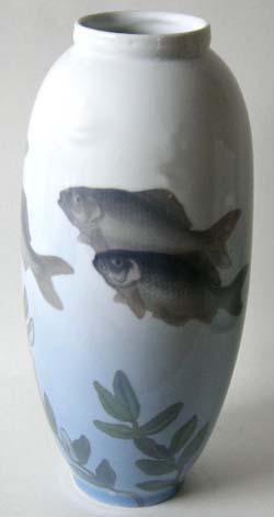 RC Vase, Fish Motif (PRE 1923) 14 In.