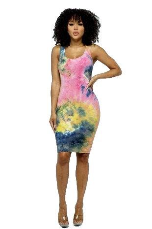 Midi Pencil Dress Tye-Dye