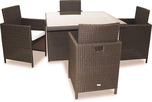 MODERN DINING 5-PCS SET CHAIRS HIDE UNDER TABLE FOR EXTRA SPACE IN BROWN