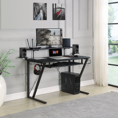 """""""TECH SPACE"""" GAMING DESK WITH CUP HOLDER IN GUNMETAL"""