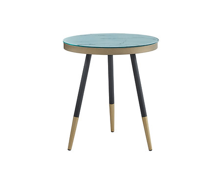 """""""ARIA"""" ROUND END TABLE IN WHITE MARBLE LOOK"""