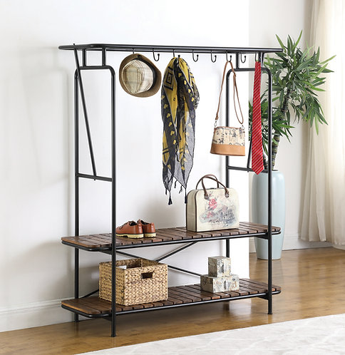 """""""BRUNO"""" COAT AND SHOE RACK IN TOBACCO AND BLACK"""