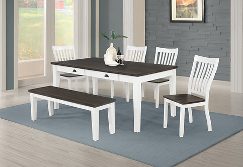 """""""KINGMAN"""" 5-PCS DINING SET IN WHITE AND ESPRESSO"""