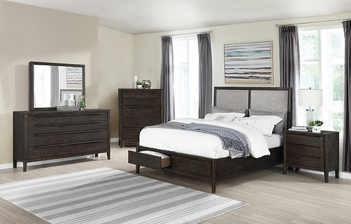 """""""Malvern"""" Queen/King Bedroom Set In French Press Brown Acacia Wood"""