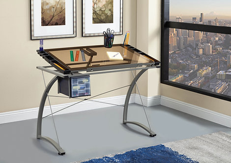 """""""MELO"""" DRAFTING DESK WITH 3-DRAWER IN CHAMPAGNE COLOR"""