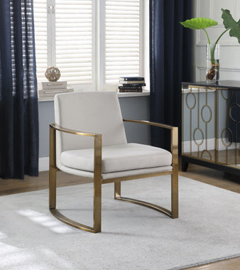 """""""KIM"""" CONCAVE METAL ARM ACCENT CHAIR INCREAM AND BRONZE"""
