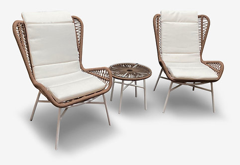 """""""NOAMI"""" 3-PCS OUTDOOR LOUNGE CHAT SET IN BROWN AND WHITE"""