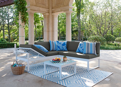 """""""JAZMIN"""" 3-PCS OUTDOOR SECTIONAL IN GREY AND WHITE FINISH"""