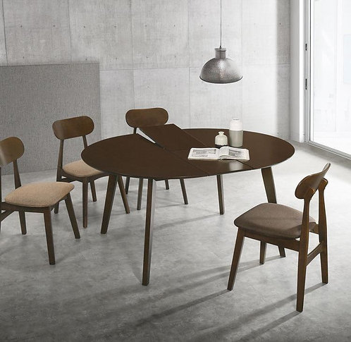 """""""PUBLIC"""" EXTENSION TABLE DINING SET IN WALNUT AND GREY FABRIC"""