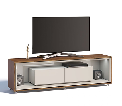 """""""OPERA"""" TV STAND IN OFF WHITE AND BROWN WITH MIRRORS"""