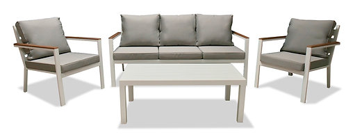 """""""MARGIE"""" 4-PCS TERRACE SET IN WHITE AND GREY"""