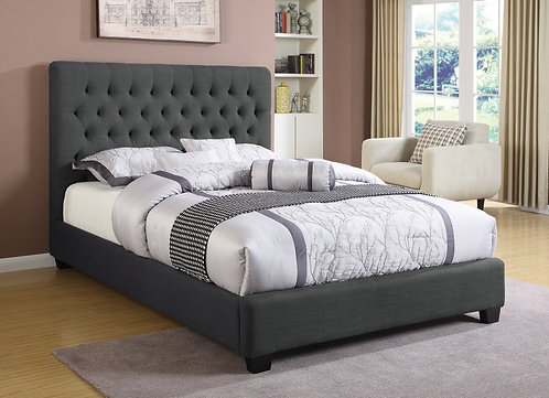 """""""CHLOE"""" QUEEN OR FULL TUFTED BED IN CHARCOAL GREY FABRIC"""