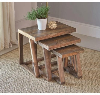 3 PCS NESTING TABLE SET IN SOLID SHEESHAM WOOD AND METAL BASE
