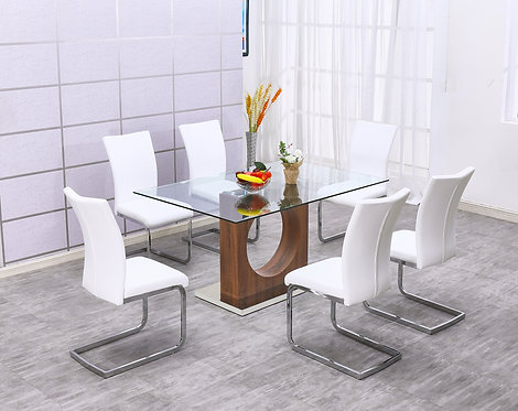 """""""DANILLE"""" DINING RECTANGULAR SET IN GLASS TOP AND WOOD FINISH"""