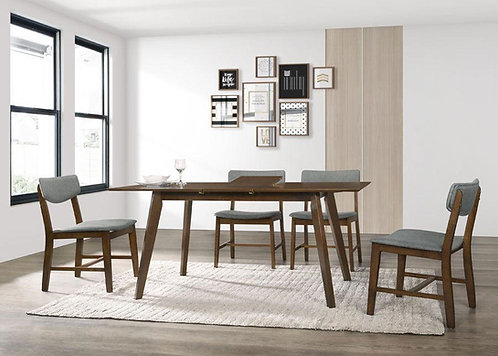 """""""CASO"""" 7-PCS EXTENSION DINING SET IN GREY AND WALNUT FINISH"""