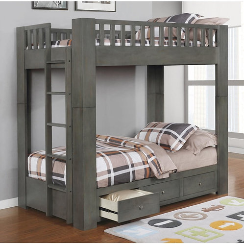 """""""CHARLIE"""" TWIN OVER TWIN BUNK BED IN GREY"""
