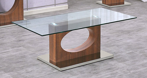 """""""DANILLE"""" RECTANGULAR COFFEE TABLE IN GLASS TOP AND WOOD FINISH"""