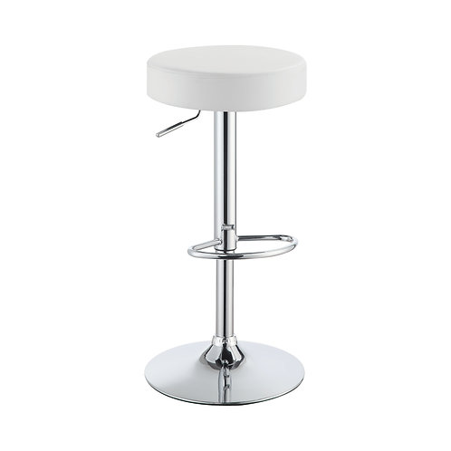 ADJUSTABLE BARSTOOL IN CHROME AND WHITE