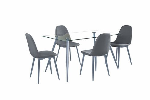 """""""LORRAINE"""" DINING SET 4 CHAIRS IN GREY AND GLASS TOP"""