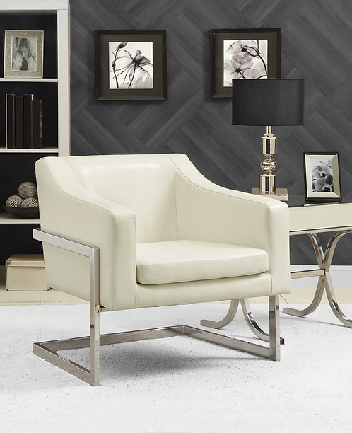 """""""SYLVIA"""" ACCENT CHAIR IN OFF WHITE LEATHERETTE"""