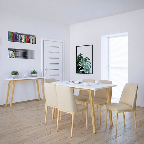 """""""VIVI"""" 5-PCS DINING SET WHITE AND BEIGE OR WHITE CHAIRS"""