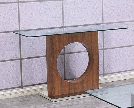 """""""DANILLE"""" RECTANGULAR CONSOLE TABLE IN GLASS TOP AND WOOD FINISH"""