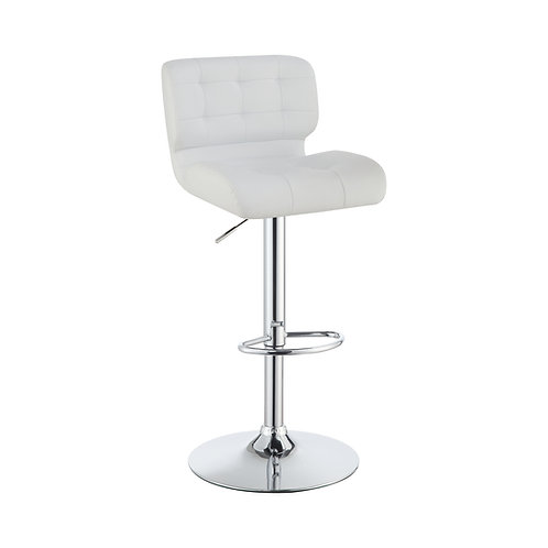 UPHOLSTERED ADJUSTABLE BARSTOOL IN CHROME AND WHITE OR GREY (SET OF 2)