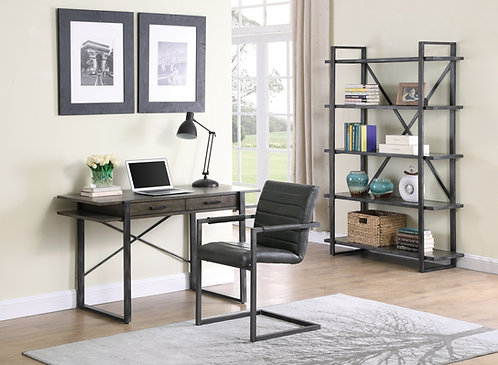 """""""HENDERSON"""" 2-DRAWER WRITING DESK IN WEATHERED ELM  AND ANTIQUE BLACK"""
