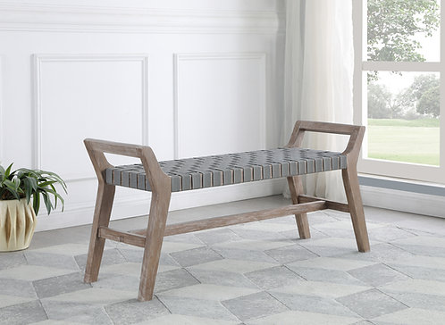 """""""LARZO"""" WOVEN BENCH IN GREY AND WASHED OR BROWN AND WALNUT"""
