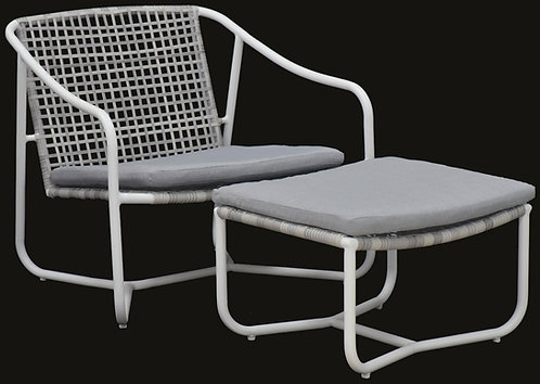 """""""POLI"""" 2-PCS OUTDOOR LOUNGE CHAIR IN WIHTE AND GREY"""